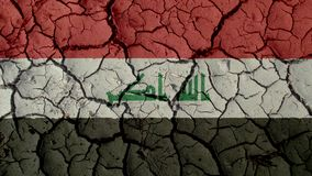 Political Crisis Or Environmental Concept Mud Cracks With Iraq Flag. Political Crisis Or Environmental Concept: Mud Cracks With Iraq Flag stock images