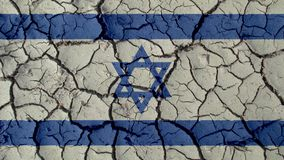 Political Crisis Or Environmental Concept Mud Cracks With Israel Flag. Political Crisis Or Environmental Concept: Mud Cracks With Israel Flag stock images