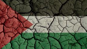 Political Crisis Or Environmental Concept Mud Cracks With Palestine Flag royalty free stock images