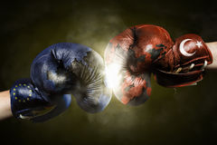 Political Crisis between the EU and Turkey symbolized with Boxin Stock Photo