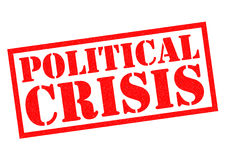POLITICAL CRISIS. Red Rubber Stamp over a white background Royalty Free Stock Images