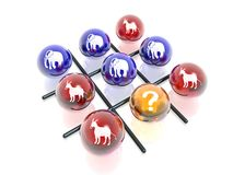 Political crosses & naughts. 3D political game (crosses & naughts Stock Image