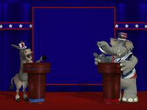 Political Debate. Political Democrat Donkey and Republican Elephant debate each other on stage in front of an blank blue square where you can place your text or stock illustration