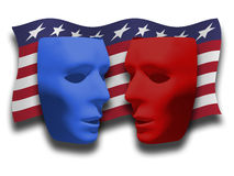 Political Debate. Composite digital image showing two masks depicting the Republican and Democratic Parties on a back drop of a patriotic/US flag-like banner royalty free illustration