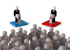 Political debate in front of a crowd concept Royalty Free Stock Image