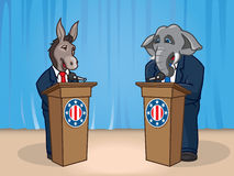 Political Debate. Illustration of the Donkey and Elephant representing the U.S. Democratic and Republican political parties for a political debate Stock Image
