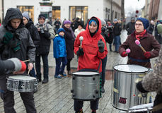 The political demonstration of anarchists on the Main Square in Cracow. royalty free stock image