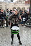 The political demonstration of anarchists on the Main Square in Cracow. royalty free stock photos