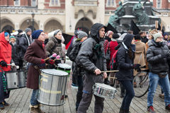 The political demonstration of anarchists on the Main Square in Cracow. royalty free stock photography