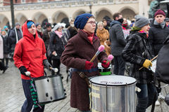The political demonstration of anarchists on the Main Square in Cracow. stock photo