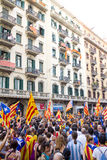 Political demonstration in Barcelona Royalty Free Stock Photos