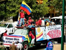 Political demonstration in Venezuela. Political Street demonstration Pro-Chavez in Venezuela stock photo