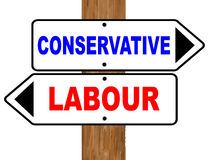 Political Direction Sign. White and black labour and conservative signs with red and blue text fixed to a wooden pole over a white background Royalty Free Stock Images