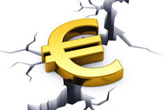Financial crisis in European Union. Political and economical concept: financial crisis in European Union - golden shiny Euro currency symbol tending to drop down Stock Images