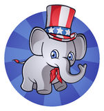 Political Elephant. This elephant is getting ready for November! Sporting Uncle Sam's hat and the Red White and Blue Royalty Free Stock Photography