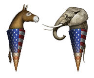 Political Elephant and Donkey Ice Cream Cones Royalty Free Stock Photo