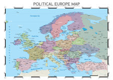 Political Europe map Stock Photography