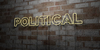 POLITICAL - Glowing Neon Sign on stonework wall - 3D rendered royalty free stock illustration Stock Images