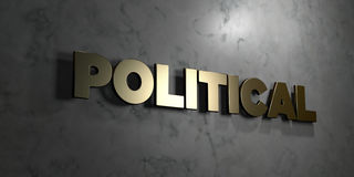 Political - Gold sign mounted on glossy marble wall  - 3D rendered royalty free stock illustration Stock Images