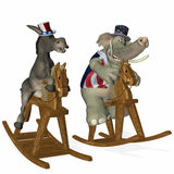 Political Horse Race 1. Democrat and Republican horse race. Republican leads by a nose. Political humor royalty free illustration