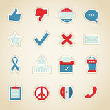 Political Icons. Collection of politically themed icons stock illustration