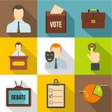 Political icons set, flat style Stock Image