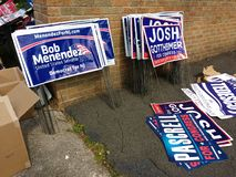 Political Lawn Signs, New Jersey Politicians, Election, USA Stock Photo