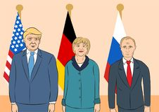 Political leaders illustration. October 29, 2017: editorial llustration of Russian President Vladimir Putin, the USA President Donald Trump, the Chancellor of Stock Image