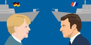Political leaders topic. 02.12.2017 Editorial illiustration of the French Republic President Emmanuel Macron and the Chancellor of Germany Angela Merkel on Royalty Free Stock Images