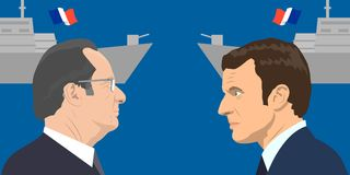 Political leaders topic. 02.12.2017 Editorial illiustration of the French Republic President Emmanuel Macron and the French Republic ex-president Francois Royalty Free Stock Photo