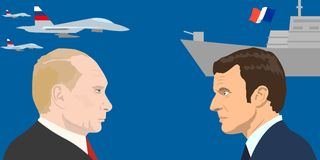 Political leaders topic. 02.12.2017 Editorial illiustration of the French Republic President Emmanuel Macron and the President of the Russian Federation Vladimir Stock Image