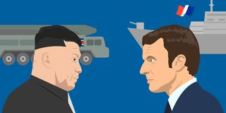 Political leaders topic. 02.12.2017 Editorial illiustration of the French Republic President Emmanuel Macron and the supreme leader of the North Korea Kim Jong Royalty Free Stock Image