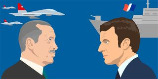 Political leaders topic. 02.12.2017 Editorial illiustration of the French Republic President Emmanuel Macron and the the President of Tyrkey Rejep Erdogan on Stock Image
