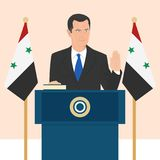 Political leaders topic. 02.12.2017 Editorial illustration of the President of Syria Bashar Al Asad that is taking an oath on Syrian flag background Royalty Free Stock Photos