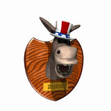 Political Loser - Democrat. Donkey head mounted on a plaque. Democrat. Political humor Stock Illustration