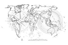 Map political abstract of the world. Political map abstract of the world background royalty free illustration