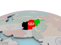 Political map of Afghanistan on globe with flag Stock Photos