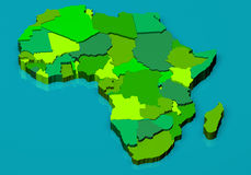 Political map of Africa 3D Royalty Free Stock Images