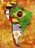 Political map of america. Some very old grunge flags of south american countries Royalty Free Stock Photography