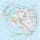 Political map of Antarctica. With the territory claims vector illustration