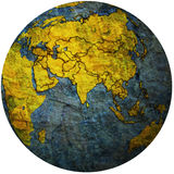 Political map of asia on globe map Royalty Free Stock Photography