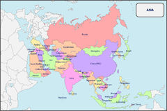 Political Map of Asia with Names Stock Photography