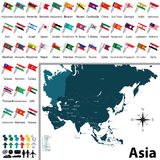 Political map of Asia. Vector of political map of Asia set with buttons flags on white background Royalty Free Stock Image