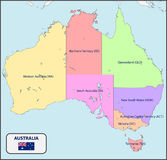 Political Map of Australia with Names Royalty Free Stock Photos