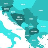 Political map of Balkans - States of Balkan Peninsula. Four shades of turquoise blue vector illustration.  royalty free illustration