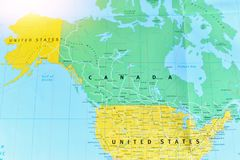 Political Map of Canada and the United States. With Bright Light royalty free stock photo