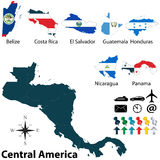 Political map of Central America Royalty Free Stock Photo