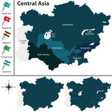 Political map of Central Asia Stock Image