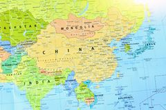 Political Map of China and Asian Countries. Close-Up Shot of Political Map of China and Other Asian Countries royalty free stock image