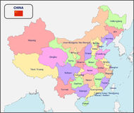 Political Map of China with Names. Illustration of a Political Map of China with Names royalty free illustration